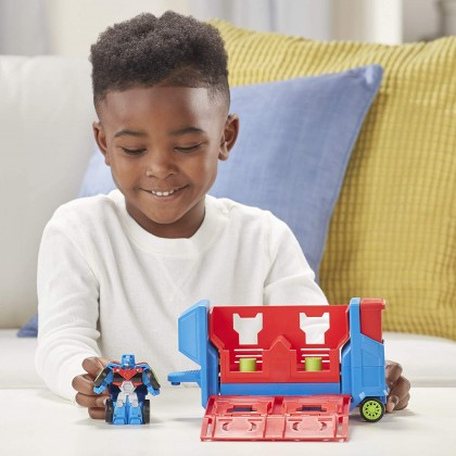 Transformers Playskool Heroes Rescue Bots Academy Launcher Trailer Optimus Prime
